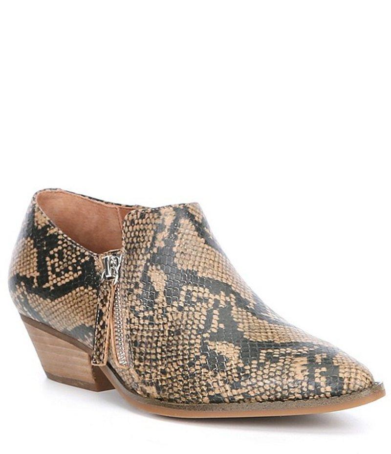 チェルシーアンドバイオレット レディース ブーツ・レインブーツ シューズ Ava Snake Print Side Zip Block Heel Booties Brown Snake