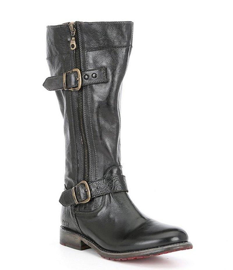 ベッドステュ レディース ブーツ・レインブーツ シューズ Gogo Lug Wide Calf Leather Double Zip Strap Harness Detail Boots Black Rustic