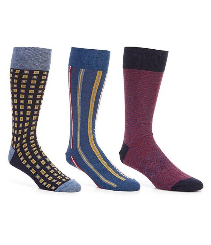 ラウンドトゥリーアンドヨーク メンズ 靴下 アンダーウェア Gold Label Roundtree & Yorke Big & Tall Squares Crew Socks 3-Pack Navy