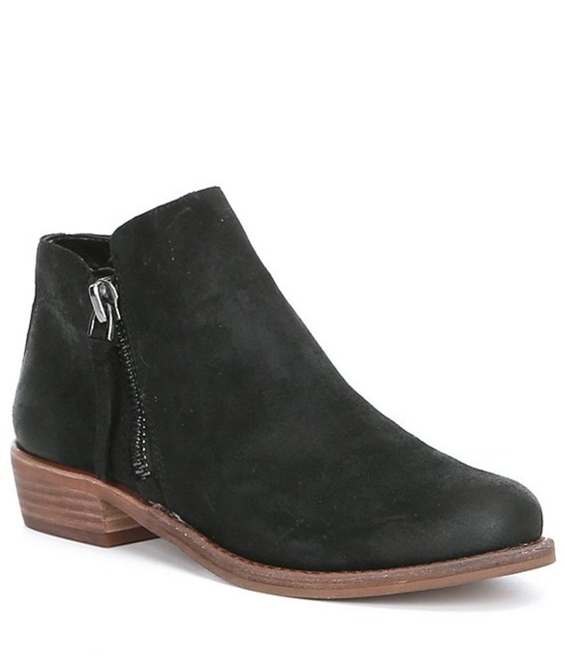ジービー レディース ブーツ・レインブーツ シューズ A-Lister Double Zip Closure Leather Block Heel Booties Black Leather