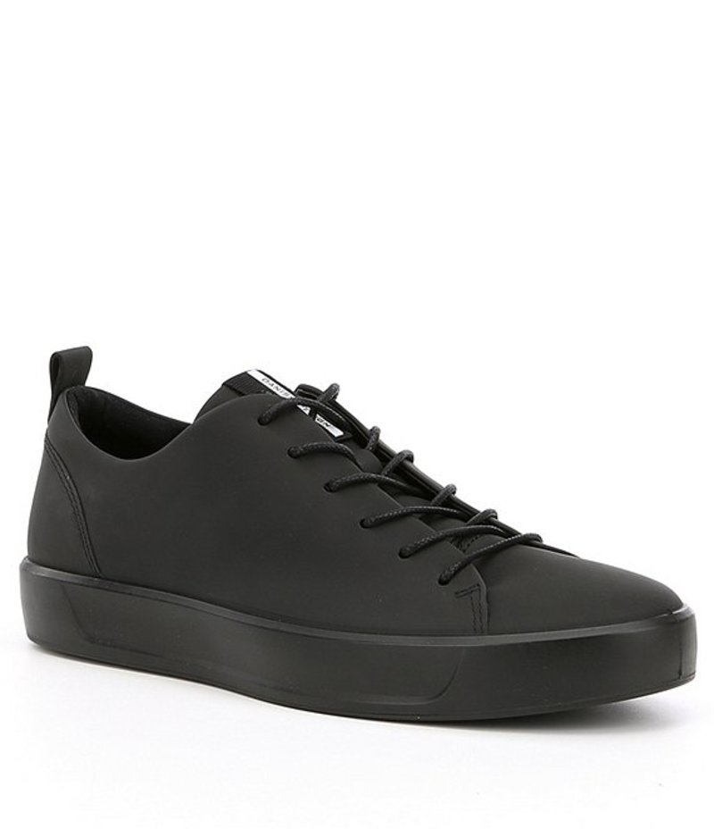 エコー メンズ スニーカー シューズ Men's Soft 8 Leather Tie Sneaker Black/Black