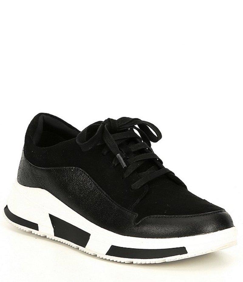 フィットフロップ レディース スニーカー シューズ Freya Suede Lace Up Wedge Sneaker Black