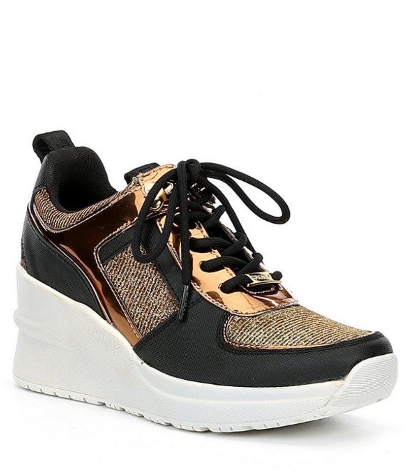 ダナ キャラン ニューヨーク レディース スニーカー シューズ Leo Metallic Fabric & Leather Wedge Platform Sneakers Black/Gold