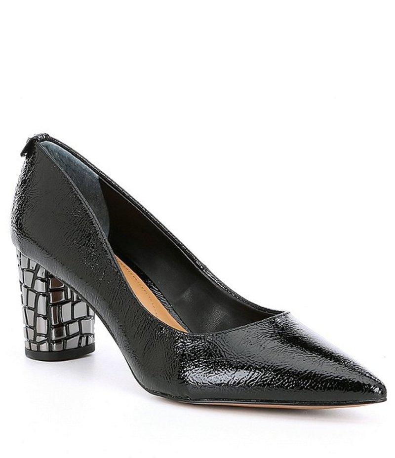 ジェイレニー レディース ヒール シューズ Vaneeta Patent & Crocodile Embossed Heel Pumps Black Patent