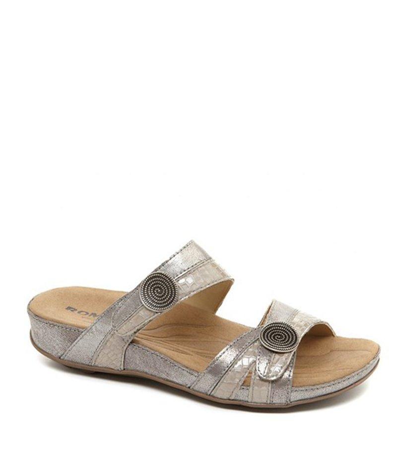 ロミカ レディース サンダル シューズ Fidschi 22 Banded Snake Print Leather Slide Sandals Platin