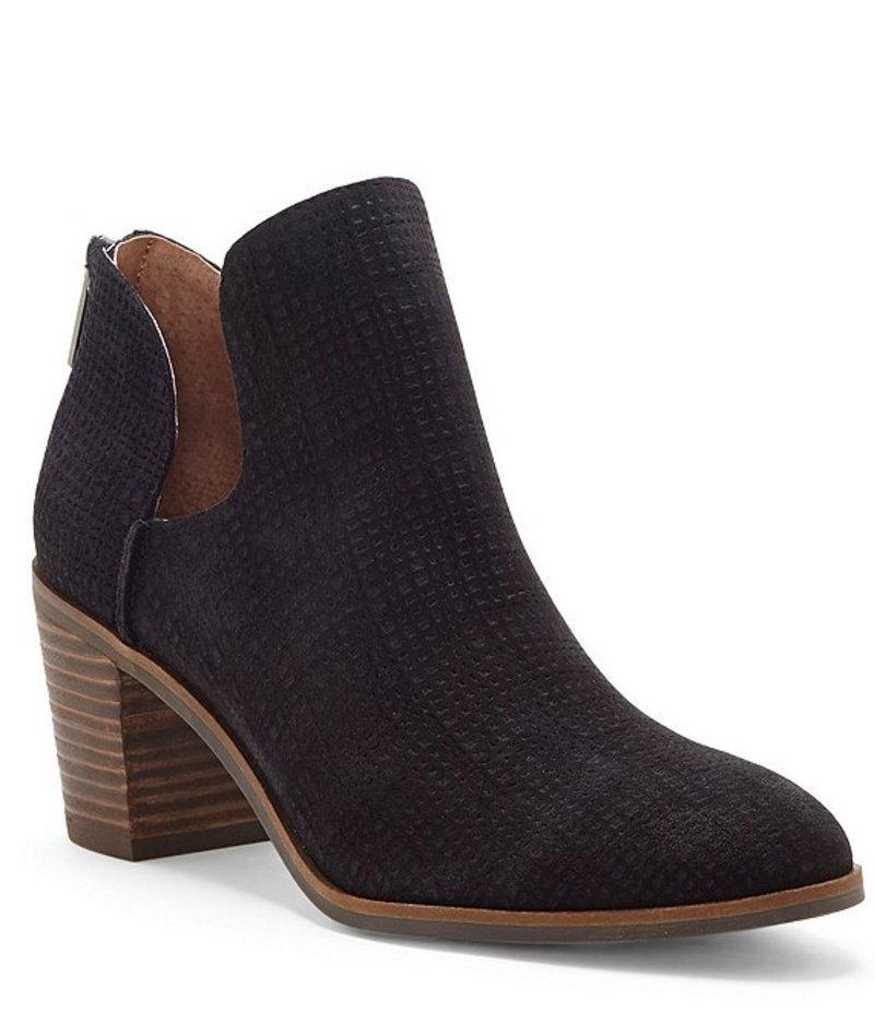 ラッキーブランド レディース ブーツ・レインブーツ シューズ Powe Leather Block Heel Booties Black
