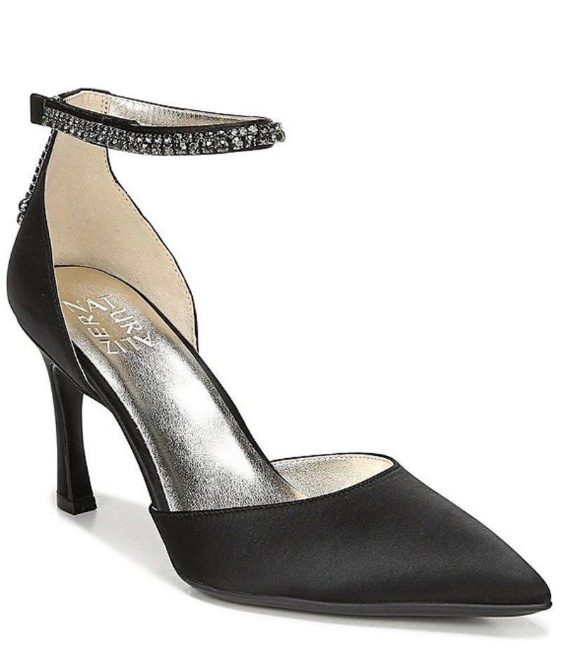 ナチュライザー レディース ヒール シューズ Alyssa Satin Ankle Strap Dress Pumps Black Satin