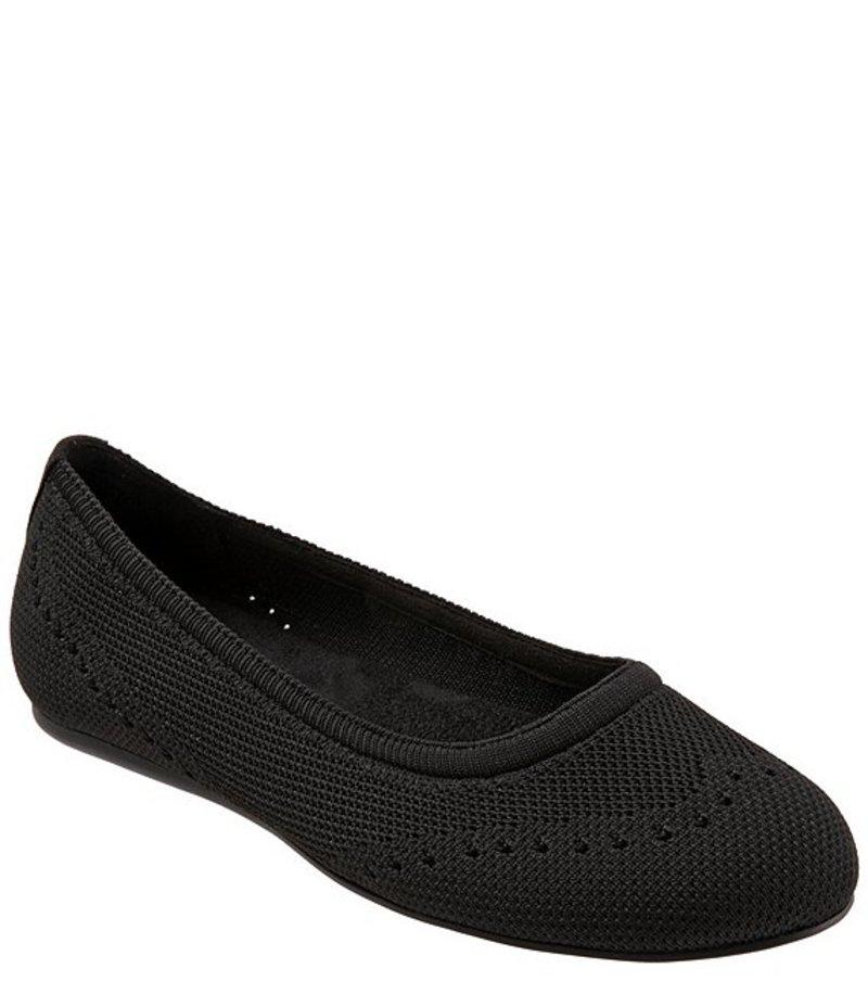 ソフトウォーク レディース パンプス シューズ Santorini Tailored Stretch Knit Slip On Flats Black Knit