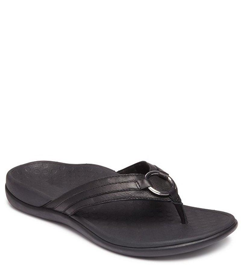 バイオニック レディース サンダル シューズ Aloe Leather Thong Sandals Black