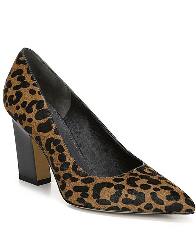 フランコサルト レディース ヒール シューズ Sarto by Franco Sarto Sasha Leopard Printed Calf Hair Block Heel Pumps Whiskey Smokey Leopard