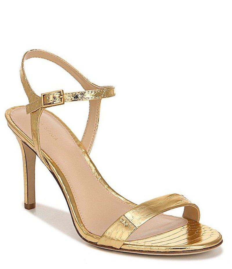 ヴィアスピガ レディース サンダル シューズ Madeleine Snake Print Metallic Leather Dress Sandals Gold