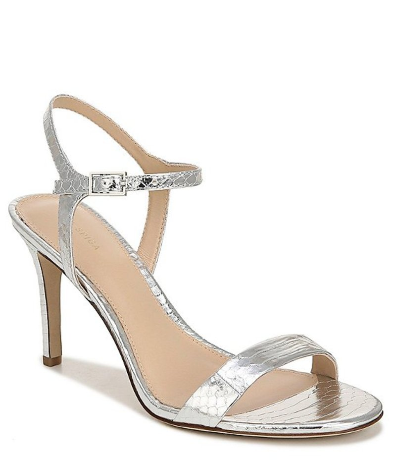 ヴィアスピガ レディース サンダル シューズ Madeleine Snake Print Metallic Leather Dress Sandals Silver