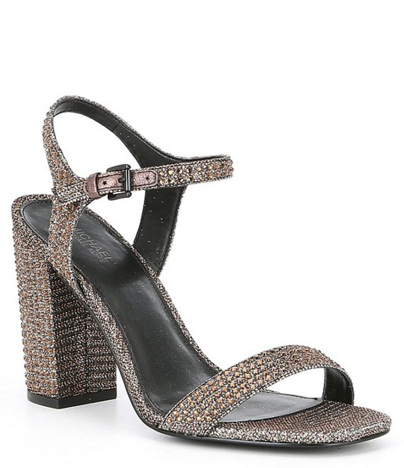 マイケルコース レディース サンダル シューズ Francine Jewel Embellished Block Heel Dress Sandals Black/Bronze/Silver