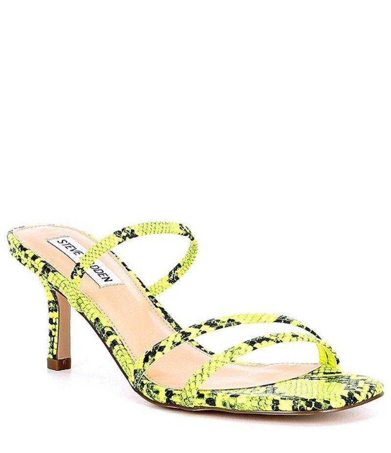 スティーブ マデン レディース サンダル シューズ Loft Snake-Print Strappy Dress Sandals Green Snake