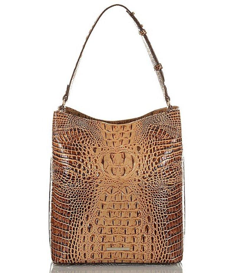 ブランミン レディース ショルダーバッグ バッグ Melbourne Collection Croco-Embossed Large Amelia Bucket Bag Toasted