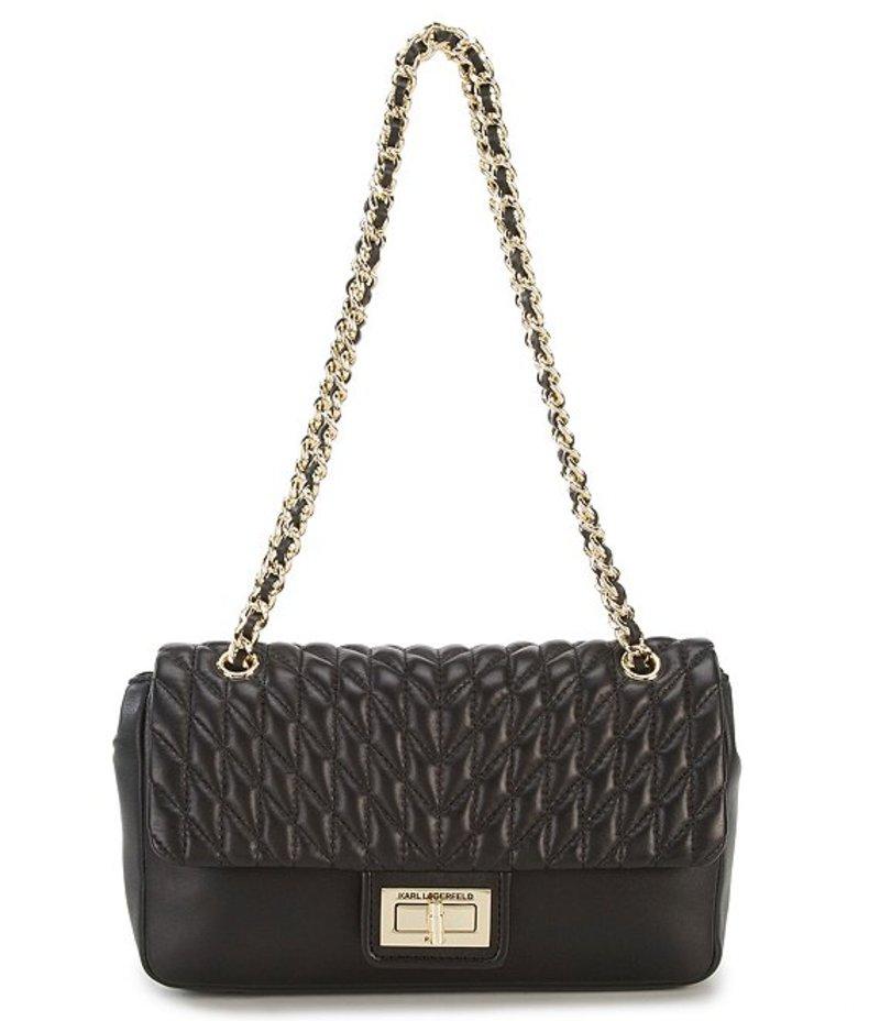 カール ラガーフェルド レディース ショルダーバッグ バッグ Agyness Chevron Diamond-Quilted Demi Shoulder Bag Black/Gold