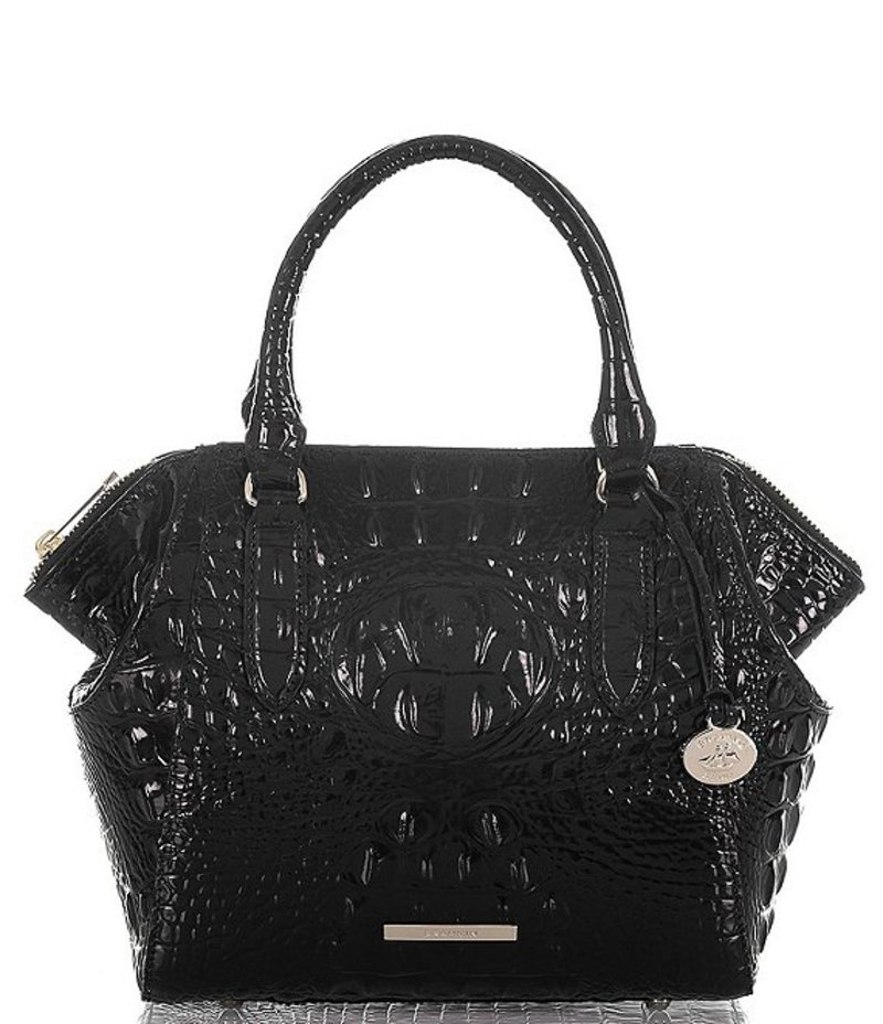 ブランミン レディース ハンドバッグ バッグ Melbourne Collection Crocodile-Embossed Mini Camila Satchel Black