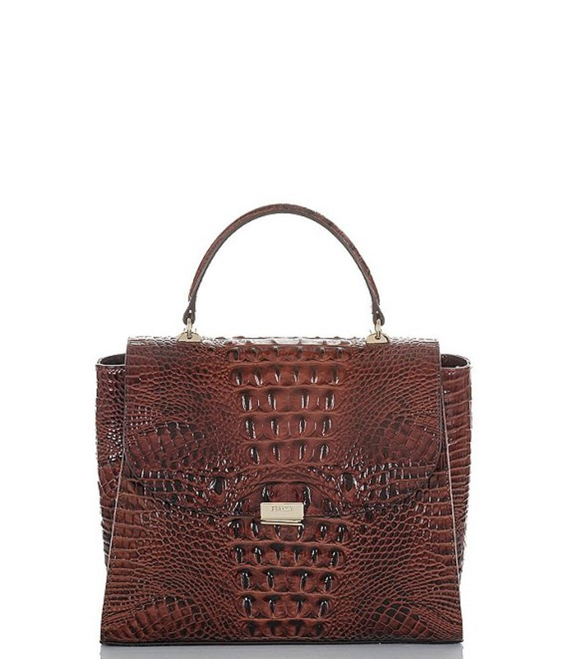 ブランミン レディース ハンドバッグ バッグ Melbourne Collection Crocodile-Embossed Ingrid Satchel Pecan