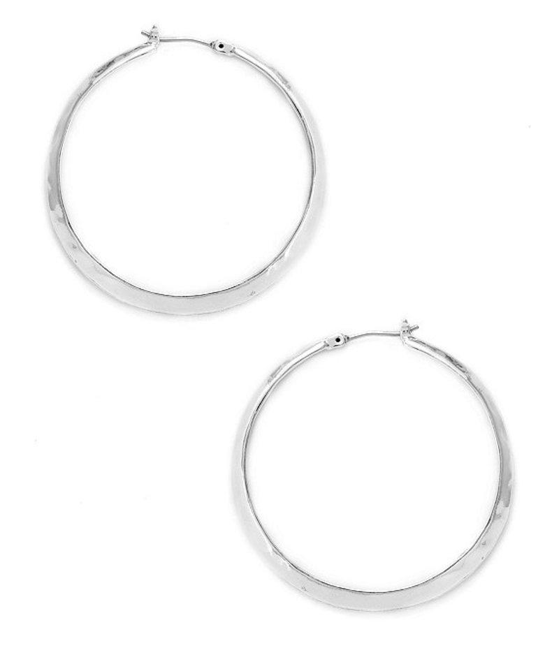 ケネスコール レディース ピアス・イヤリング アクセサリー Silver Textured Hoop Earrings Shiny Silver