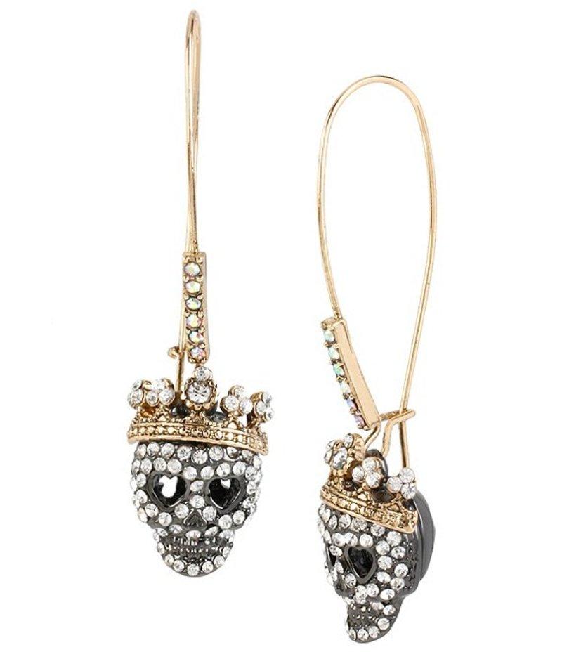 ベッツィジョンソン レディース ピアス・イヤリング アクセサリー Pave Skull Long Drop Earrings Crystal/Multi