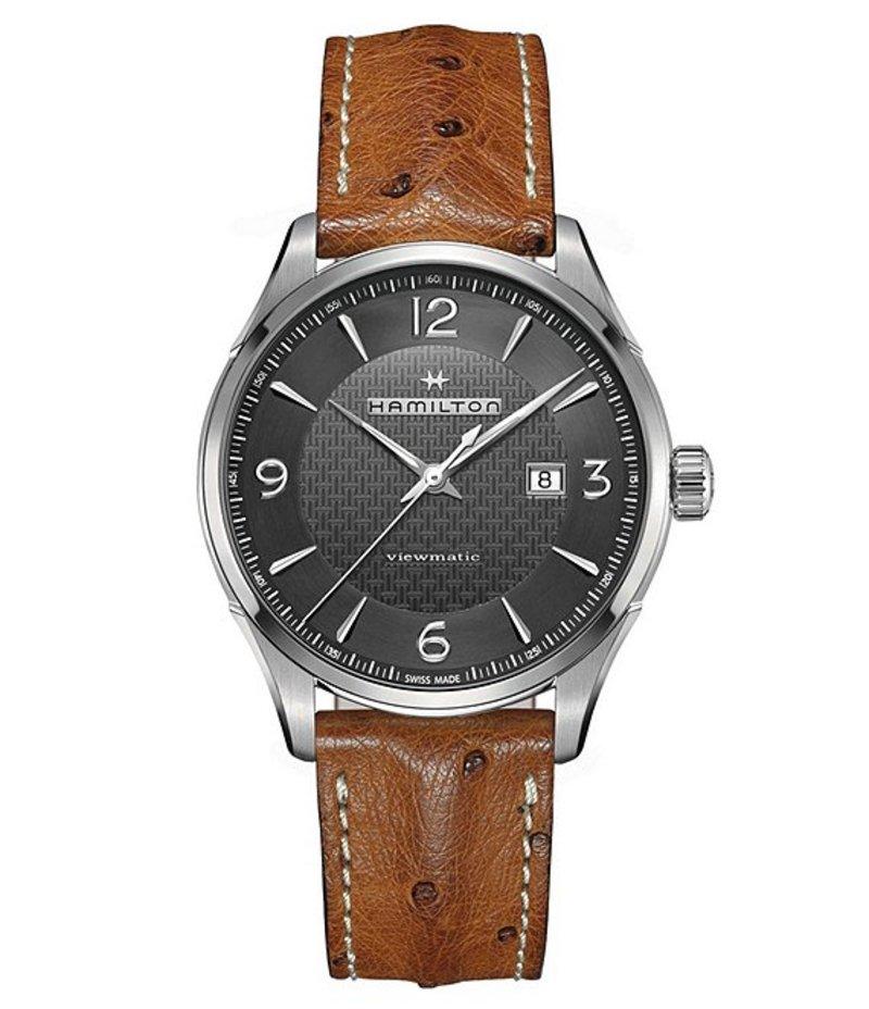 ハミルトン メンズ 腕時計 アクセサリー Viewmatic Leather-Strap Watch Grey