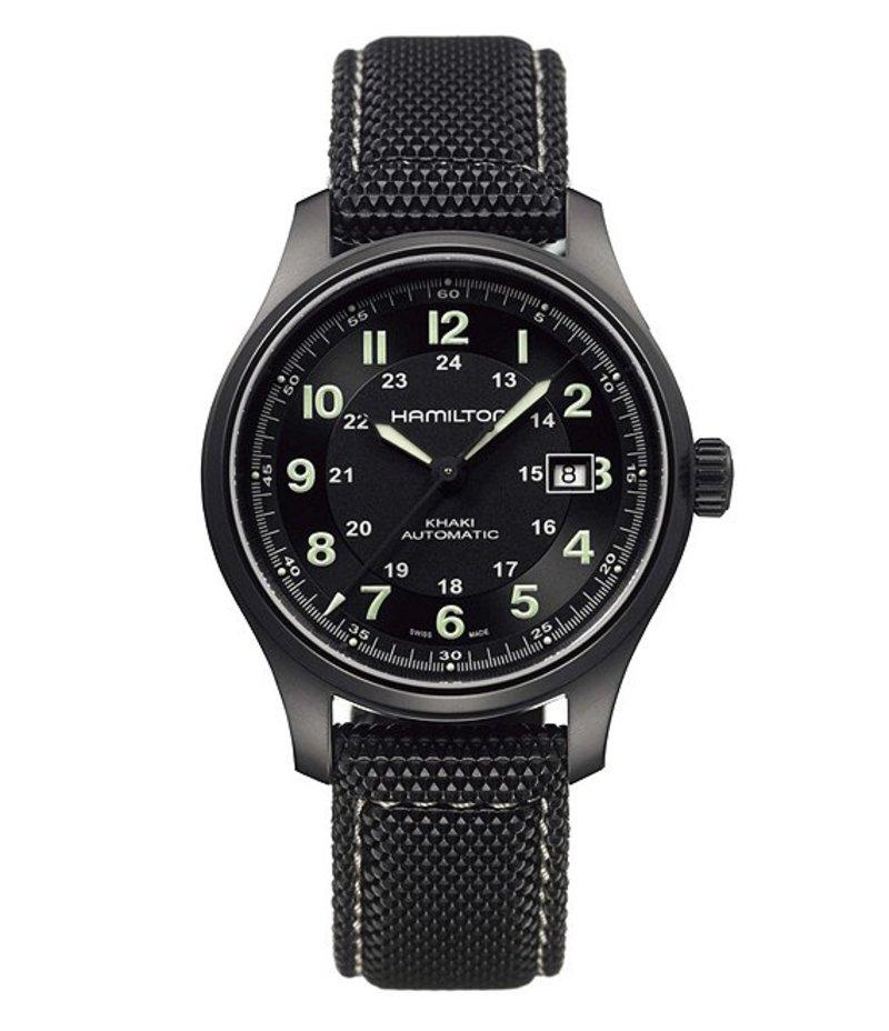 ハミルトン メンズ 腕時計 アクセサリー Khaki Field Titanium Watch Black