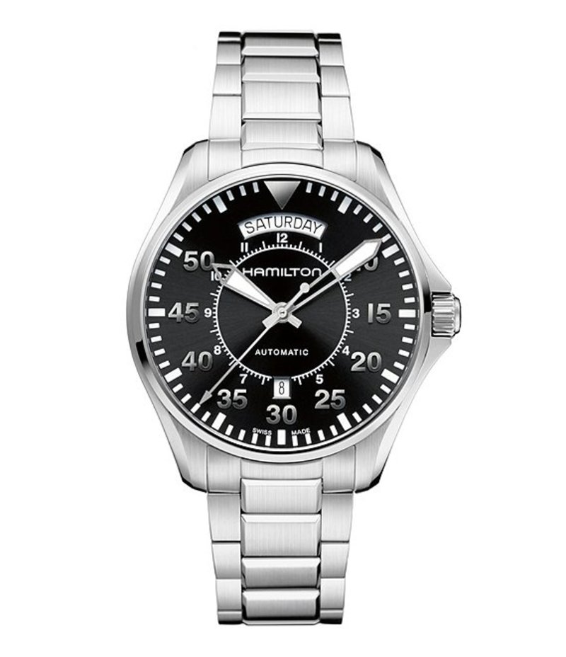 ハミルトン メンズ 腕時計 アクセサリー Khaki Pilot Mechanical Automatic Watch Black