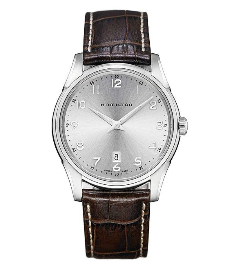 ハミルトン メンズ 腕時計 アクセサリー Jazzmaster Thinline Analog & Date Leather-Strap Watch Silver