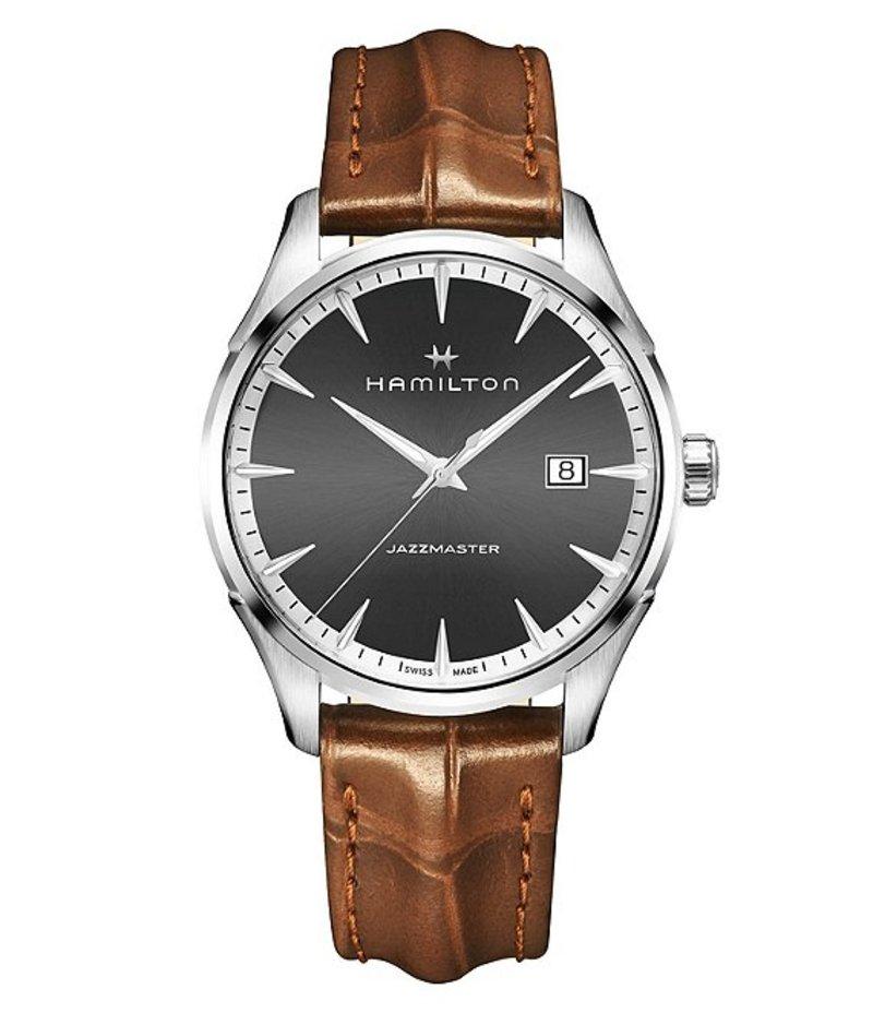 ハミルトン メンズ 腕時計 アクセサリー Jazzmaster Gent Analog & Date Leather-Strap Watch Brown