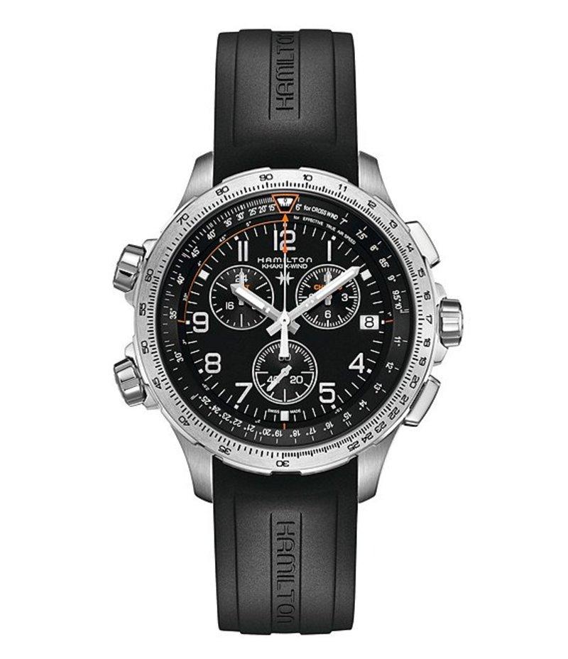 ハミルトン メンズ 腕時計 アクセサリー X-Wind Chronograph & Date Rubber-Strap Watch Black
