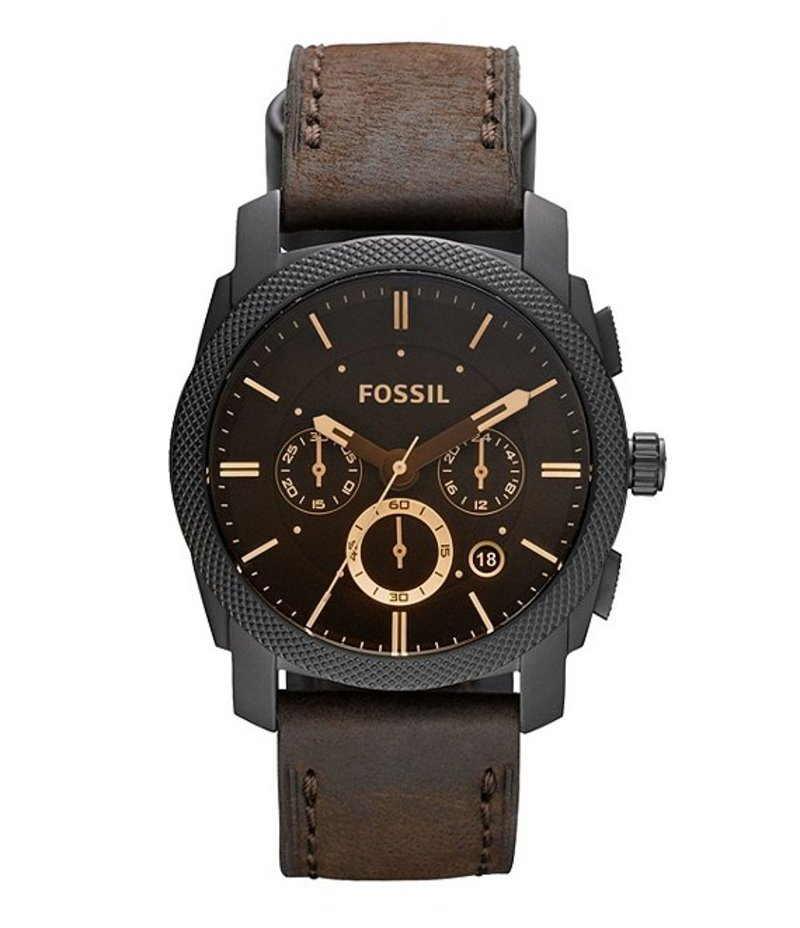 フォッシル メンズ 腕時計 アクセサリー Machine Mid-Size Chronograph Brown Leather Watch Brown