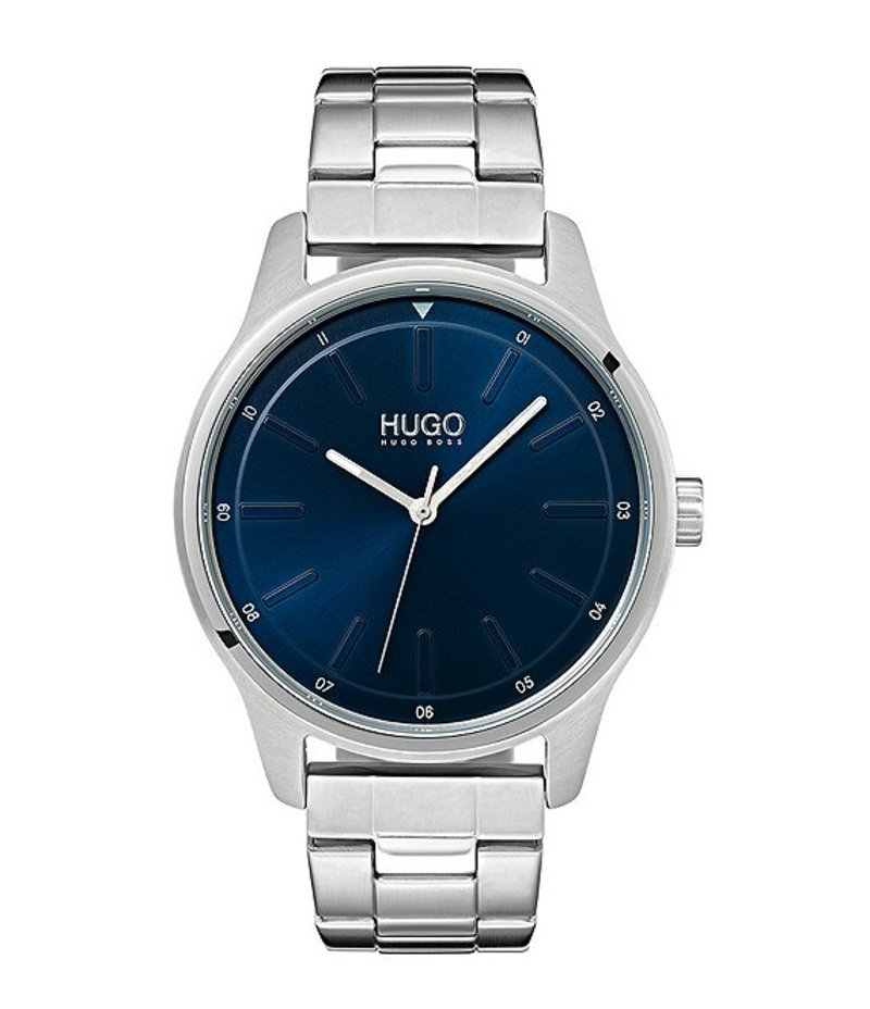 ヒューゴボス メンズ 腕時計 アクセサリー HUGO HUGO BOSS #Dare Stainless Steel Blue Dial Bracelet Watch Silver