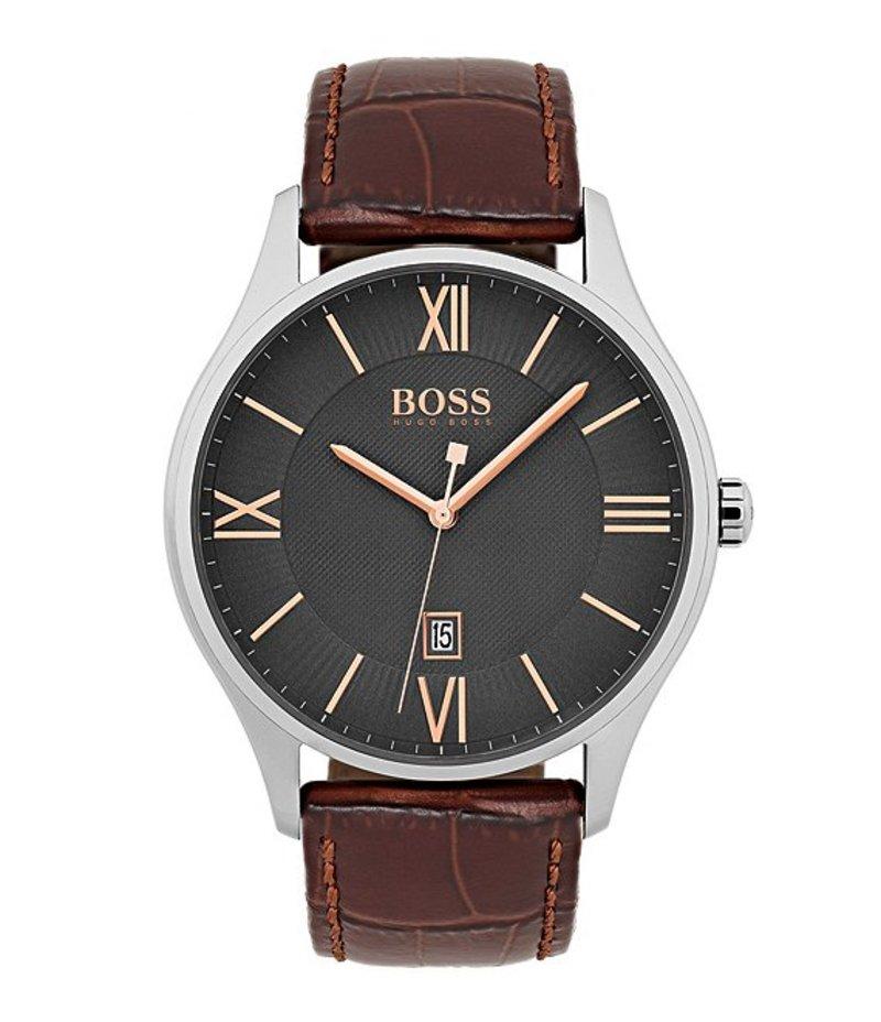 ヒューゴボス メンズ 腕時計 アクセサリー BOSS Hugo Boss Governor Brown Leather Strap Dress Watch Brown