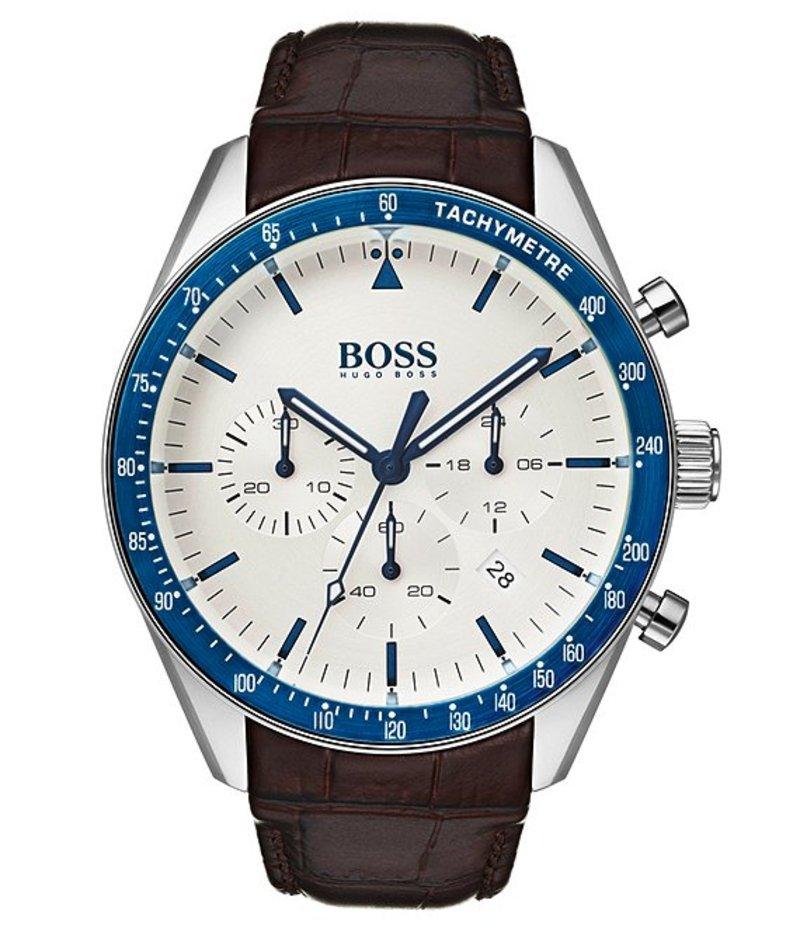 ヒューゴボス メンズ 腕時計 アクセサリー BOSS Hugo Boss Trophy Croc Leather Watch Brown