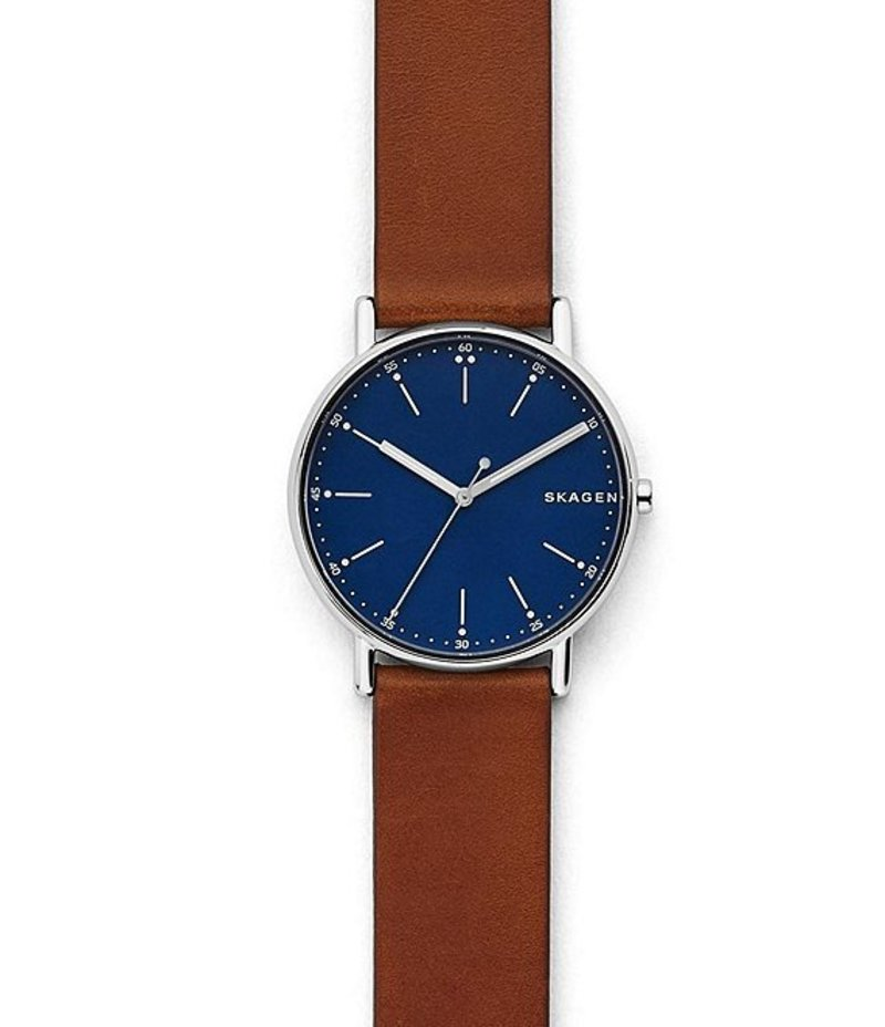 スカーゲン メンズ 腕時計 アクセサリー Signatur Brown Leather Watch Brown