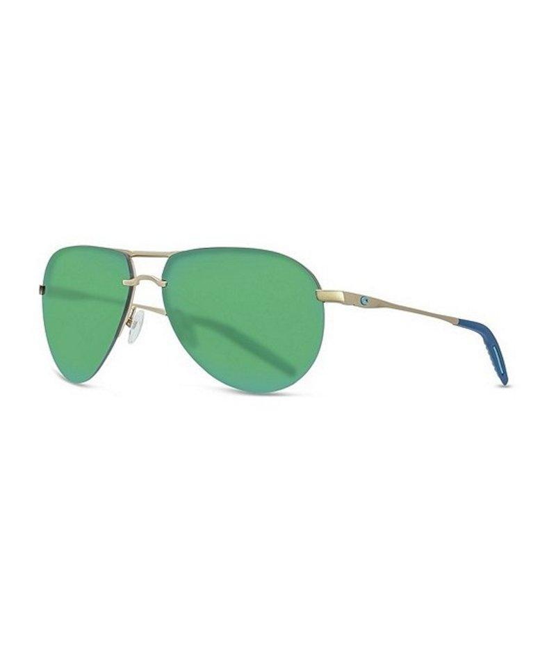 コスタ メンズ サングラス・アイウェア アクセサリー Helo Polarized Aviator Sunglasses Matte Champagne Green Mirror