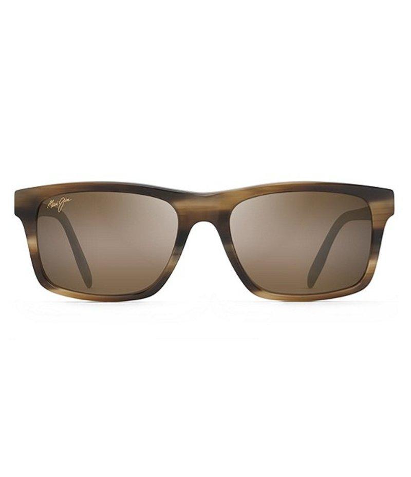 マウイジム レディース サングラス・アイウェア アクセサリー Waipio Valley Polarized Rectangular Sunglasses Chestnut