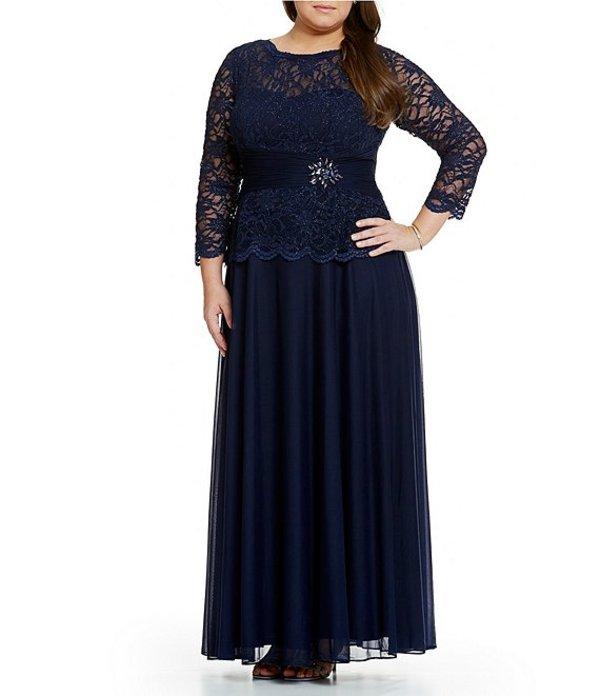 カシェット レディース ワンピース トップス Plus Faux Two Piece Lace Top Gown Navy