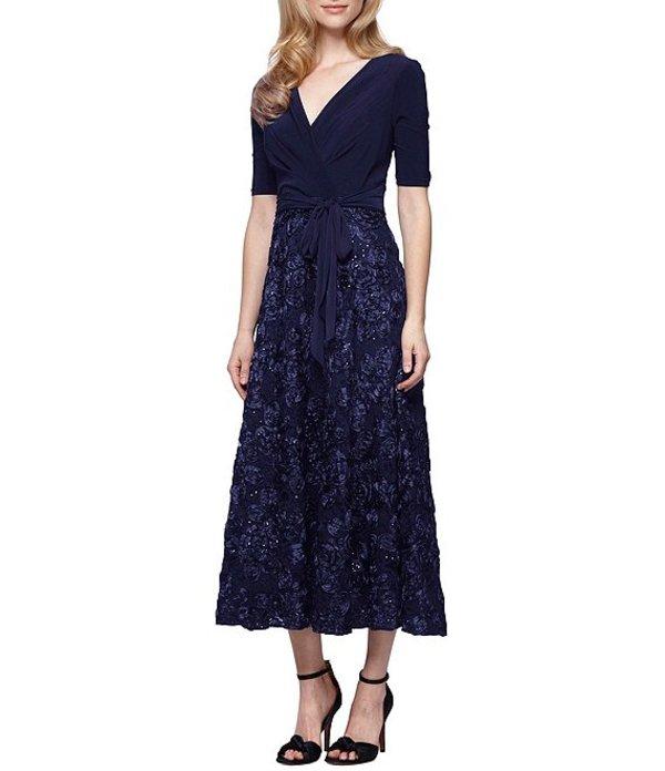 アレックスイブニングス レディース ワンピース トップス Tea-Length Rosette Skirt Party Dress Navy