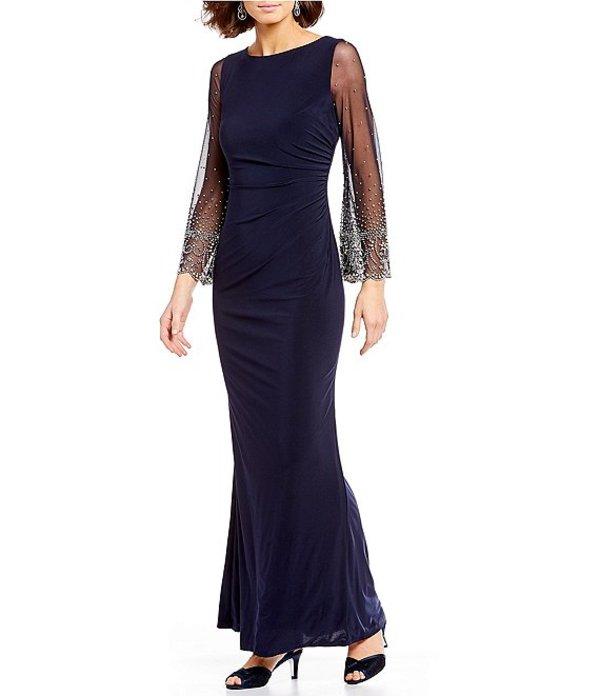 カシェット レディース ワンピース トップス Illusion Beaded Sleeve Stretch Gown Midnight/Silver