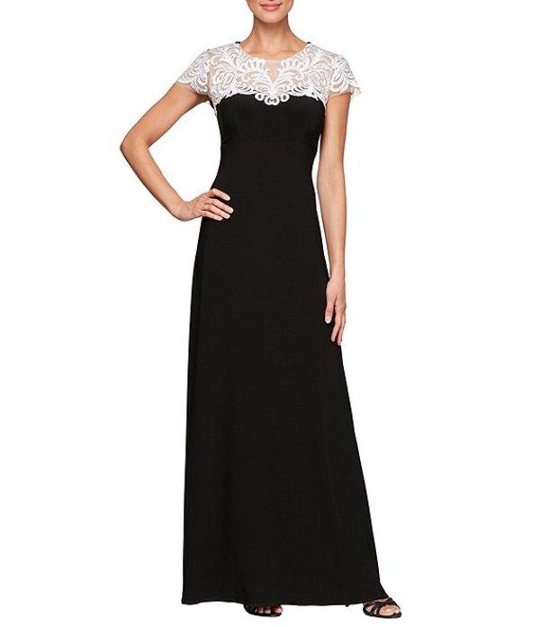 アレックスイブニングス レディース ワンピース トップス Embroidered Illusion Lace Yoke A-Line Gown Black/White