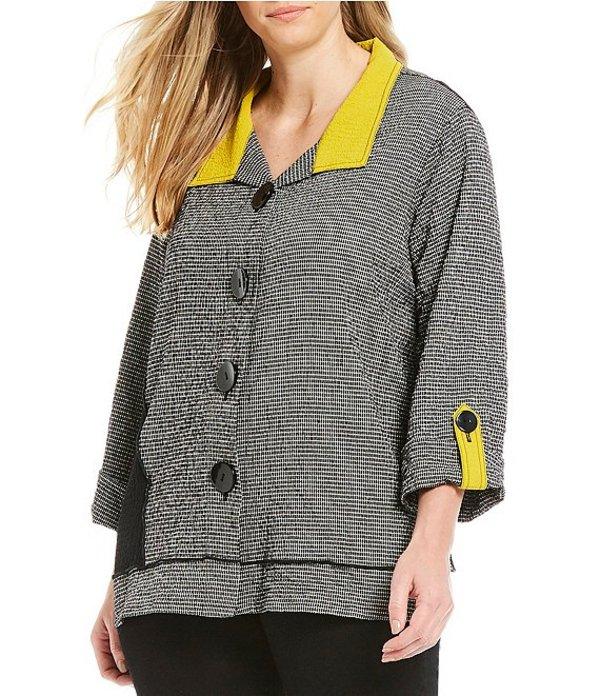 アリ マイルス レディース シャツ トップス Plus Size Crinkle Plaid Asymmetric Hem Button Front Roll-Tab Sleeve Colorblock Tunic Citrine