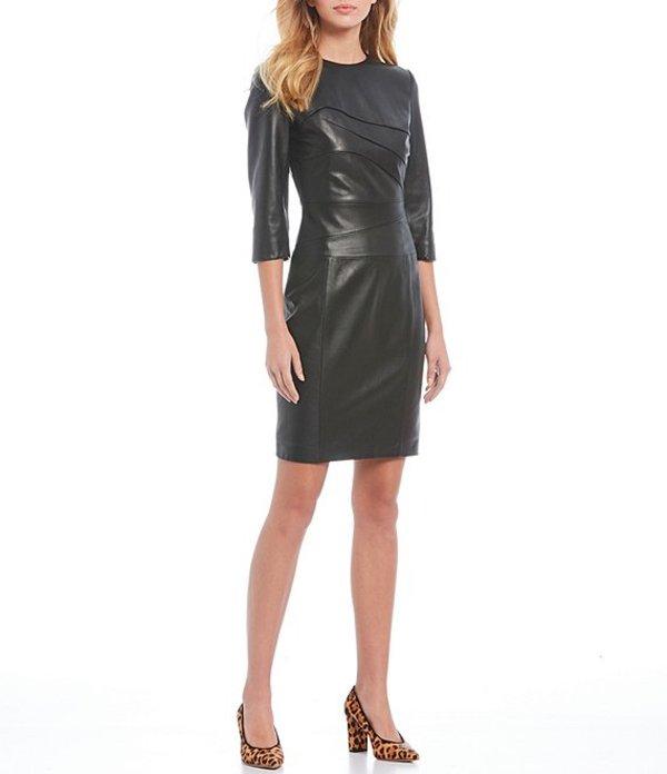 アントニオ メラーニ レディース ワンピース トップス Luxury Collection Abigail Genuine Leather Dress Black