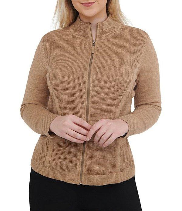 アリソン デイリー レディース カーディガン アウター Petite Size Textured Cotton Blend Zipper Front Cardigan Neutral Twist