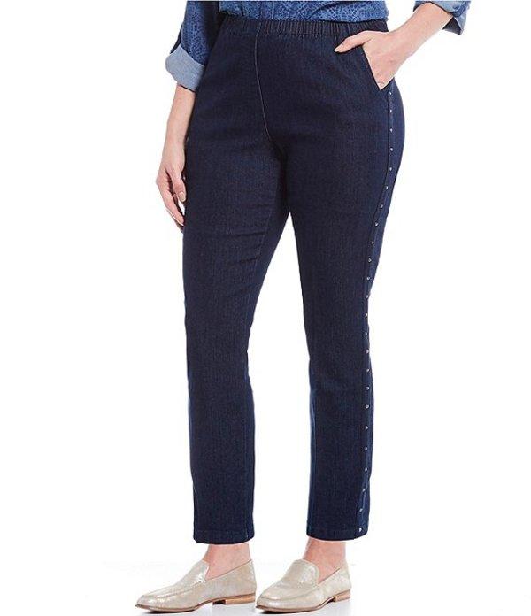 アリソン デイリー レディース デニムパンツ ボトムス Plus Size Pull-On Side Nailhead Tape Stretch Diamond Denim Pants Dark Indigo