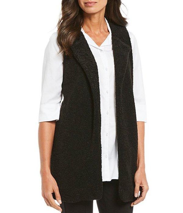 ボベー レディース ジャケット・ブルゾン アウター Teddy Bear Knit Open Front Vest Black