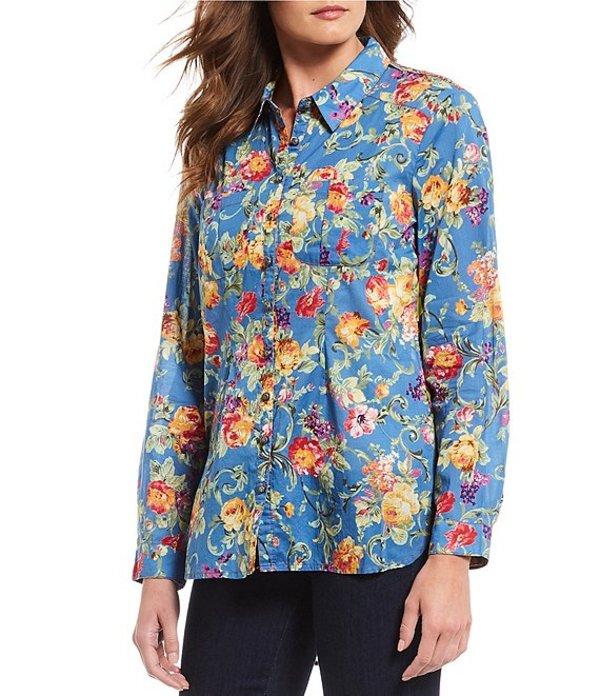 アラッタ レディース シャツ トップス Lotte Velvet Burnout Floral Print Cotton Blend Shirt Blue Floral