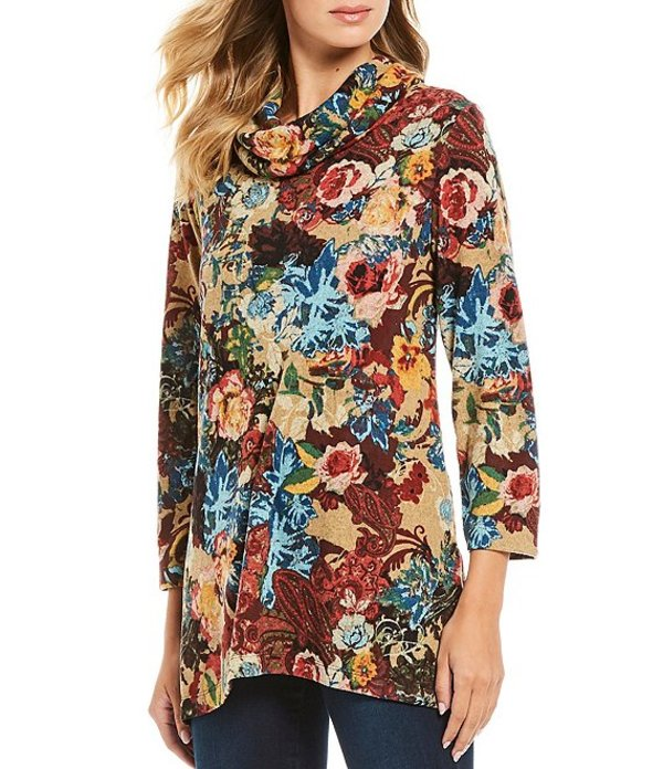 アリ マイルス レディース Tシャツ トップス Cowl Neck Floral Print Brushed Knit Tunic Multi/Floral