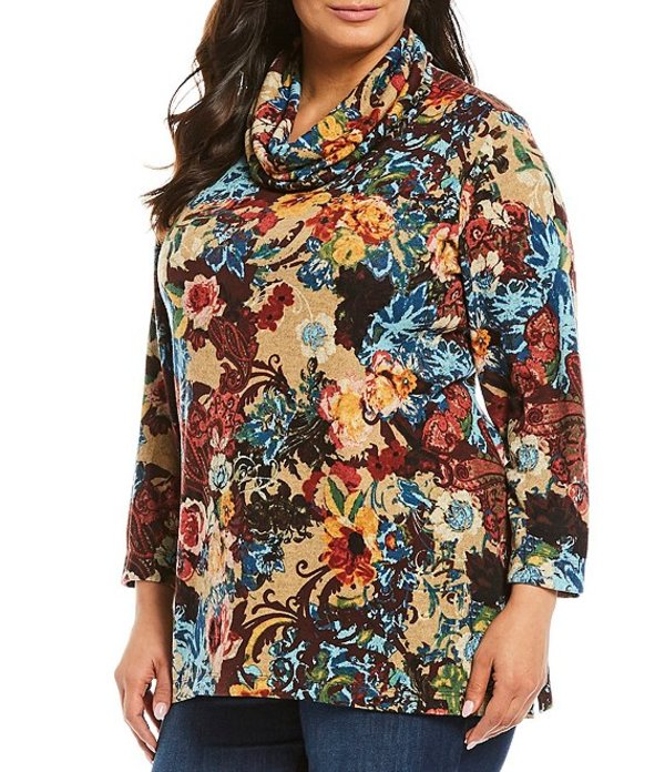 アリ マイルス レディース カットソー トップス Plus Size Cowl Neck Floral Print Brushed Knit Tunic Multi/Floral
