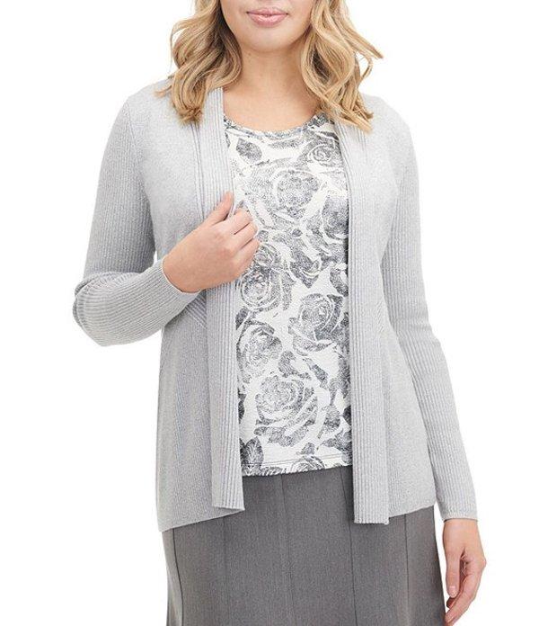 アリソン デイリー レディース カーディガン アウター Petite Size Solid Rib Knit Shawl Collar Open Front Cardigan Grey Twist